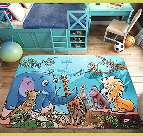 RuiHome Jungle Animal Theme Non-Slip Kids Nursery Rug Baby Play Crawling Mat for Bedroom Living Room Picnic - 39x59