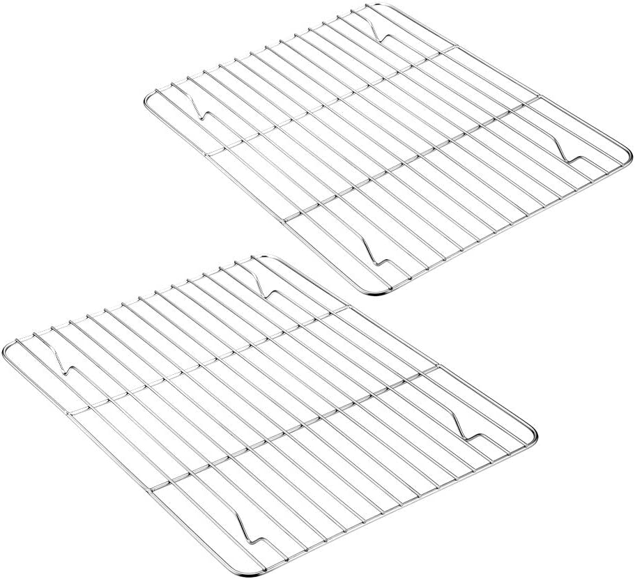 Baking Cooling Rack Set of 2, E-far Stainless Steel Metal Roasting Cooking Racks, Size - 11.6'' x 9'', Non Toxic & Rust Free, Oven & Dishwasher Safe