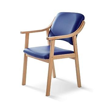 SUENOSZZZ - Silla Altea de Madera de Haya, Polipiel Color Azul. Sillas para Comedor/Salon/habitacion | Silla geriatrica | Silla Madera | Mueble para ...