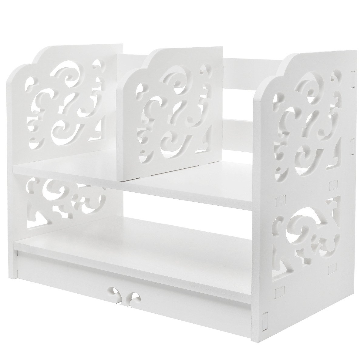 Amazon mygift white wood openwork freestanding book shelfdesk amazon mygift white wood openwork freestanding book shelfdesk top organization caddystationary storage kitchen dining altavistaventures Choice Image