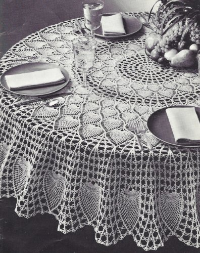 Vintage Crochet PATTERN to make - Pineapple Petals Design Round Tablecloth 72 in.. NOT a finished item. This is a pattern and/or instructions to make the item only.