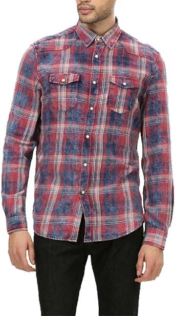 Desigual - Camisa casual - para hombre rojo X-Large: Amazon ...