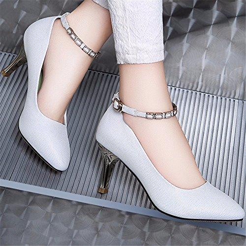 HXVU56546 Otoño Con La Nueva Delgada Con Tacones Altos Zapatos Puntiagudos Zapatos De Dama Moda White