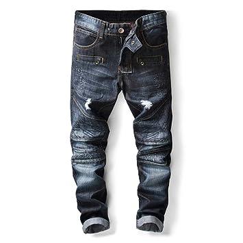 Zxllyntop Jeans de Hombre Pantalones Vaqueros Azul Marino de ...