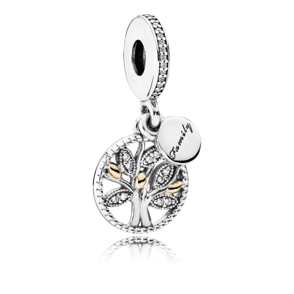Pandora Women's Bead Pendant Silver and Gold 791728CZ Female Family Tree zircons, Silver
