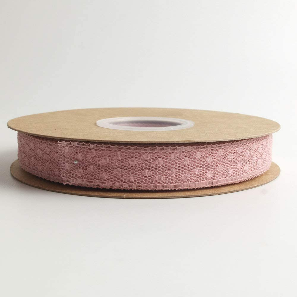 Light Pink Micomon Light Pink Lace Ribbon Trim by The Roll 50 Yards Each Roll 100/% Polyester 3//4 inch