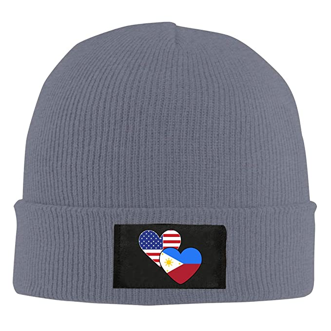 Philippines American Heart Flags Women and Men Knitted Hat Fashion Warm Beanie Cap