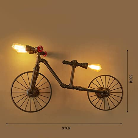 Vinteen Personalidad Bicicleta Tubería de Agua Lámpara de Pared Arte de Hierro Vintage Café Dormitorio Bar Mostrador Viento Industrial Creatividad Válvula roja Tres Cabezas Aplique de Pared de luz: Amazon.es: Hogar