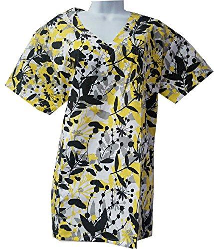 Spark Scrubs Women's Printed Scrub Tops Plus Sizes 1 X 2X 3 X 4X (1X, Black White) 2 X Scrubs