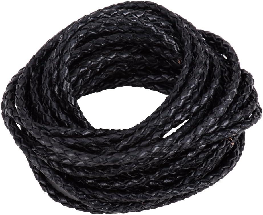 PandaHall Elite Precio por 1 Bolsa Cordon de Cuero Trenzado de Reborn, Negro, 3mm