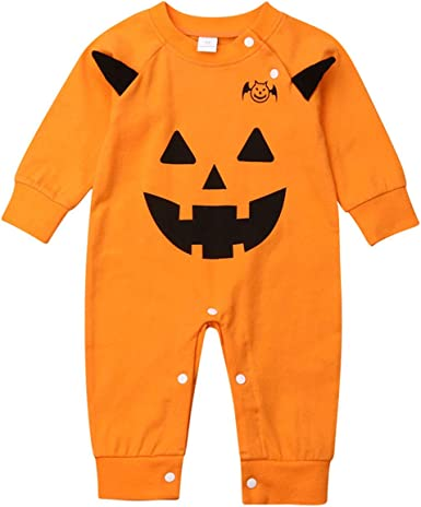 Baby Toddler Boys Girls One-Piece Long Sleeve Cartoon Halloween Romper Jumpsuit Overalls