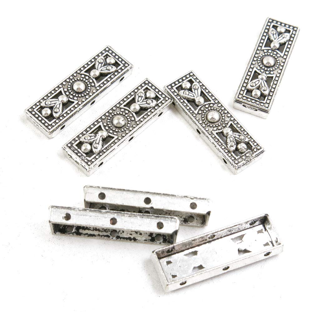 340 Pieces Antique Silver Tone Jewelry Making Charms Crafting Beading Craft N1MX6 3 Holes End Caps Separator Bars by LOTING CHARMS