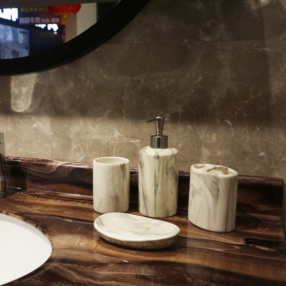 COOSA Keramik-Badezimmerzubeh/ör-Set 5-teilig Badeset Kollektion Marmor-Muster Becher Seifenspender Baumwolltank Zahnb/ürstenhalter Seifenschale Marble Design Pumpe
