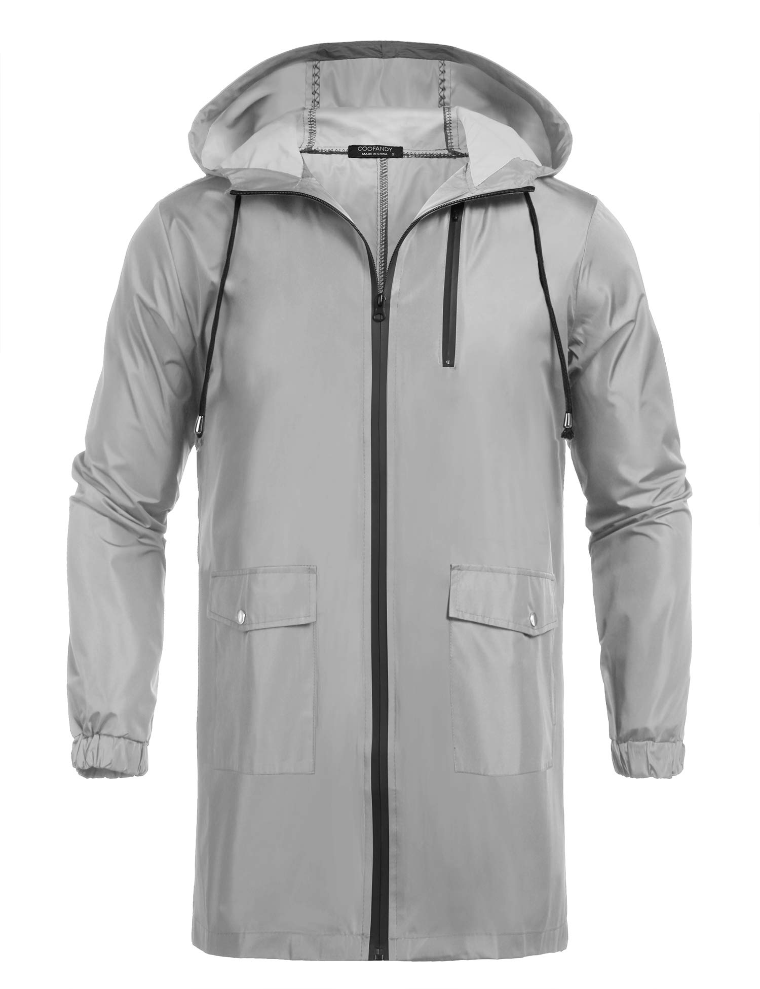 COOFANDY Men's Waterproof Hooded Rain Jacket Lightweight Windproof Active Outdoor Long Raincoat Grey by COOFANDY
