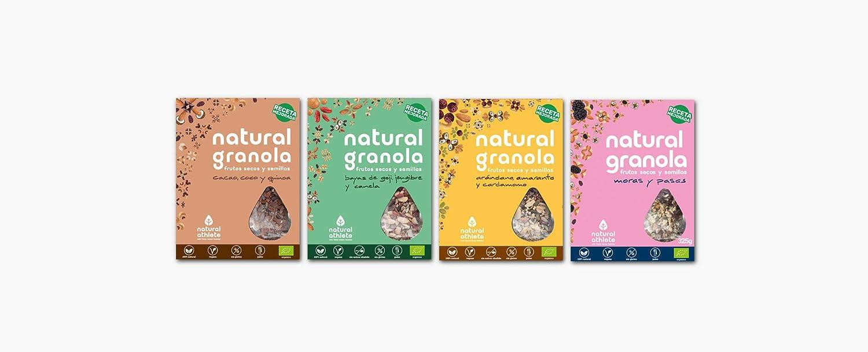 Granola Mix -Moras - Cacao - Goji - Arándano -Natural Athlete- Desayuno con frutos secos y semillas - 100% Natural - BIO - Sin Gluten - Sin Lactosa - ...