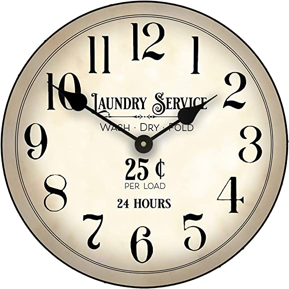 Vintage Laundry Room Large Wall Clock, 8 Sizes, Great for Bedroom, Living Room, Kitchen, Whisper Quiet, Handmade in The USA