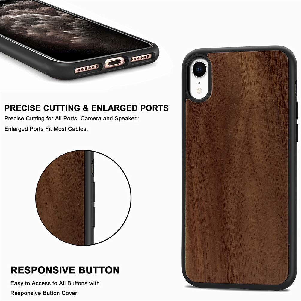 VoguSaNa Kompatible f/ür Handyh/ülle iPhone XR H/ülle Echt Holz Case Wood Cover Silikon Tasche D/ünn Schutzh/ülle Handytasche Skin Softcase Schale Bumper TPU Handycover Etui Deckel-1