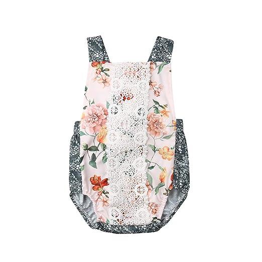 52e2f48fadde Amazon.com  Baby Girl Lace Floral Romper Sleeveless Backless ...