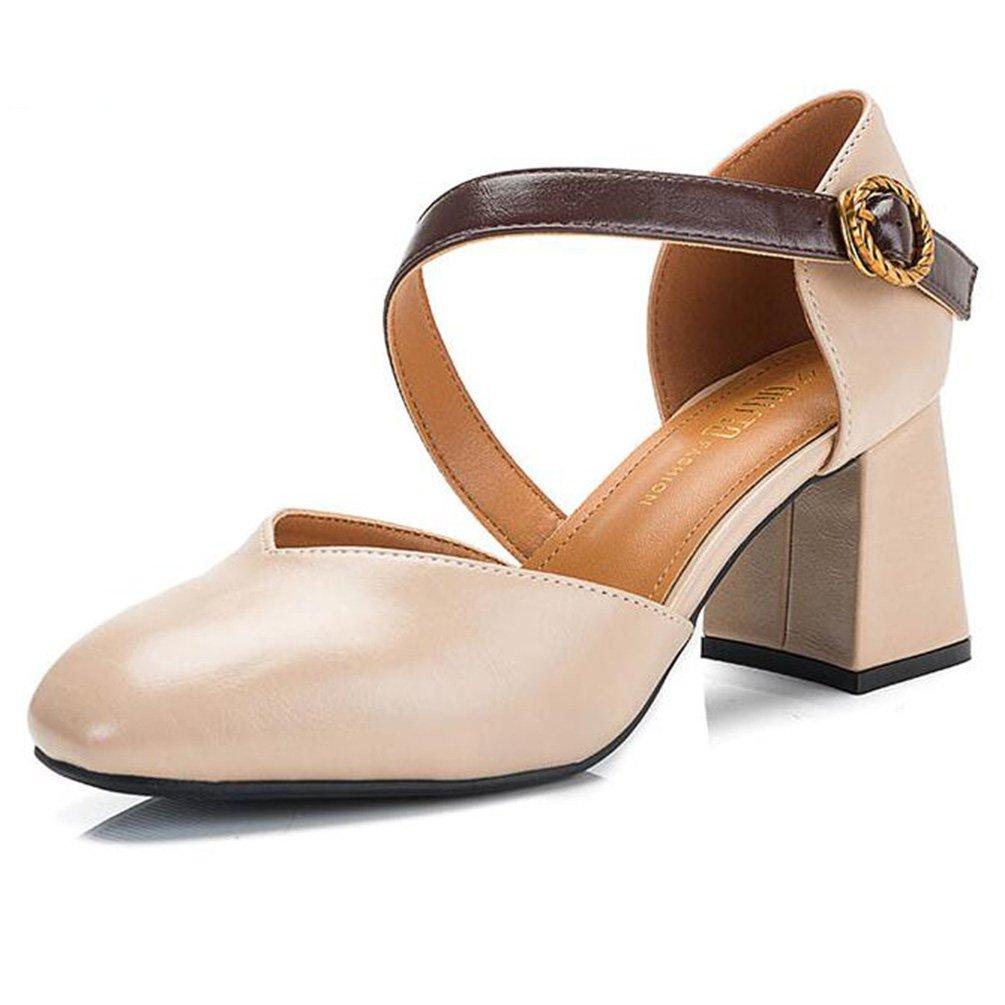 Frühling Koreanische Dicke mit Hohen Absätzen Platz Kopf Student Hohl Mary Jane Schuhe Einzelne Schuhe Weiblich (Farbe   Beige Größe   36)