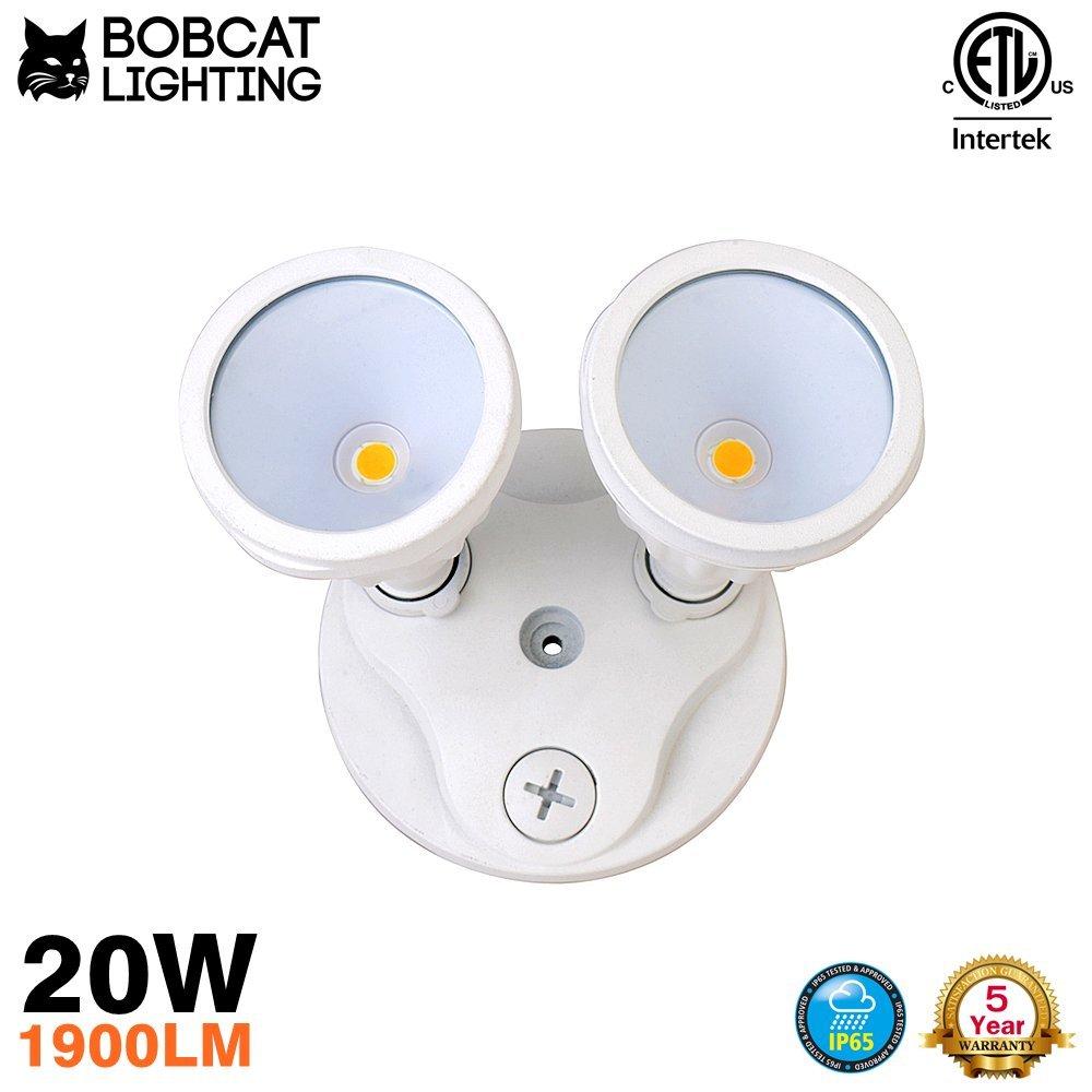 Photocell Technology Bobcat Lighting 20 Watt Twin Head Dawn to Dusk LED Flood Lights Adjustable Outdoor Flood Lighting 2100 Lumens 5000K All Metal Durable Design BL-SL2-20W-W-PC
