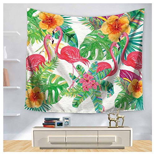HOMTOD Palm And Floral Wall Tapestry Wall Art Tropical Beauty Home Decor Hanging Tapestry 59x51-inch (Tropical Headboards)