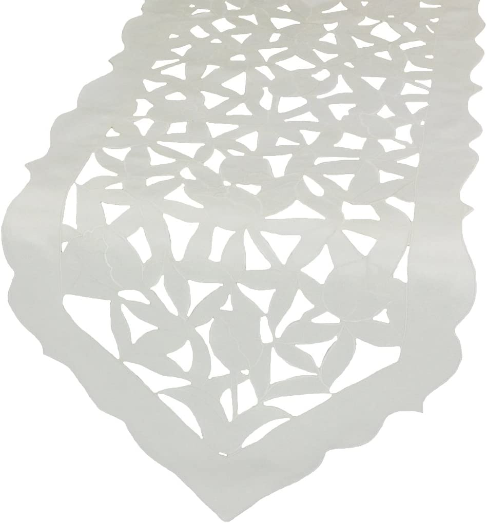 Xia Home Fashions Tulip Bouquet Embroidered Cutwork Spring Table Runner, 15 by 72-Inch, White