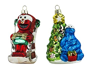 kurt adler painted glass cookie monster and elmo christmas ornaments set of 2