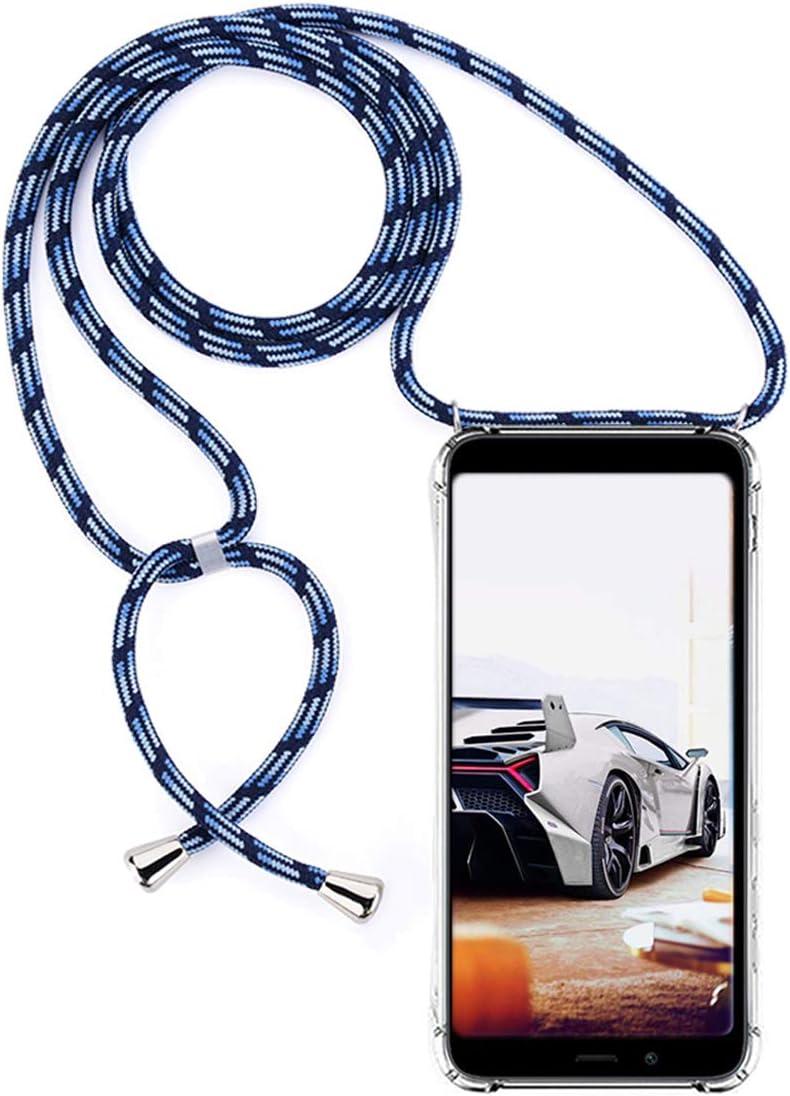 GoodcAcy Funda con Cuerda para Xiaomi Redmi 7A Pantalla en Cristal Templado-Carcasa Transparente de TPU-con Cordon para Llevar en el Cuello