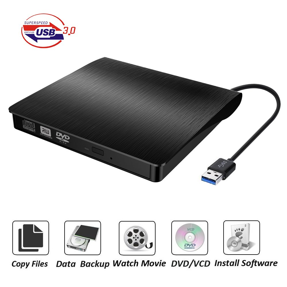 COOFO External DVD/CD Drive, DVD-RW USB DVD Drive Burner Ultra Slim Portable DVD Writer CD/DVD-RW Burner for Laptop and Desktop PC Windows and Linux OS Apple Mac Macbook Pro etc by COOFO
