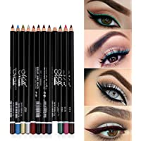 12 colores Pro Eyeliner Pen Set Lápiz delineador de ojos Impermeable Eyeliner Lápiz delineador de labios de alta pigmentación de larga duración Glitter Glitter Kit de maquillaje para mujer niña