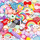 BBTO 100 Pieces Slime Charms Mixed Candy Sweets Resin Flatback Slime Beads Making Supplies for DIY Scrapbooking Crafts (Color 1)