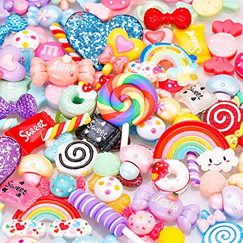 BBTO 100 Pieces Slime Charms Mixed Candy Sweets Resin Flatback Slime Beads Making Supplies for DIY Scrapbooking Crafts (Color 1)]()