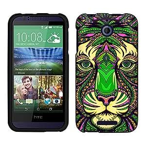 HTC Desire 510 Case, Snap On Cover by Trek Aztec Tiger Head Green Case