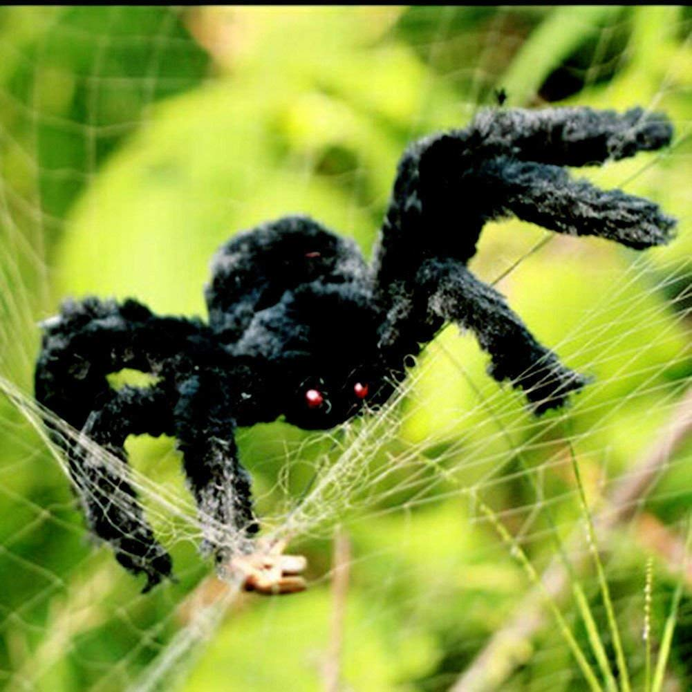 125 cm grande ragno ragno peloso di Halloween Spaventoso falso grande ragno per decorazioni esterne Decorazioni da cortile Decorazioni spaventose spider di peluche Ragno Nera gigante da 50 pollici