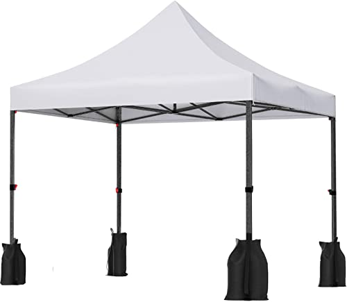 SONGMICS Pop Up Canopy Tent 10 x 10 Feet, Anti-UV Canopy, Waterproof Stable Commercial Instant Party Shelter, with Sandbags Pegs Ropes Wheeled Carry Bag, Outdoor Wedding Patio Events, White UGCT30WB