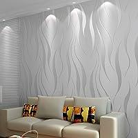 HANMERO Moderne Minimalistische Niet-Geweven Behang 3D Flocking Reliëf Behang Roll Woonkamer Slaapkamer Zilver Grijs…