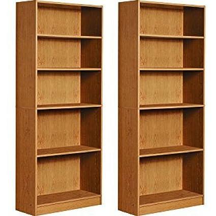 Mylex Five Shelf Bookcase; Three Adjustable Shelves; 11.63 X 29.63 X 71.5  Inches,