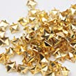 Mini-Factory 200 PCS Nailhead DIY Metal Gold Punk Spikes Spots Pyramid Studs For Leathercraft (Size:10MM, Color:Gold, QTY:200 Pieces)