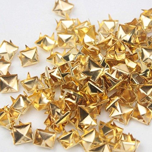 Gold Metal Spike (Mini-Factory 200 PCS Nailhead DIY Metal Gold Punk Spikes Spots Pyramid Studs For Leathercraft (Size:10MM, Color:Gold, QTY:200 Pieces))