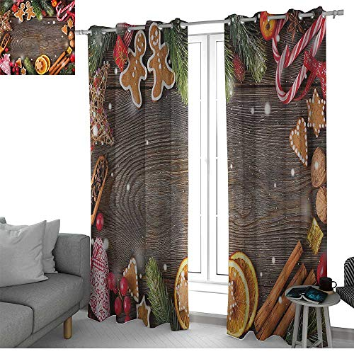(NUOMANAN Curtains 84 inch Length Gingerbread Man,Festive Christmas Frame with Spices Biscuits Decorative Elements on Table,Multicolor,Modern Farmhouse Country Curtains)