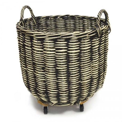 Fireside Log Basket Black & Cream Large Round Wicker Rattan Wood Storage with Wheels Tri Pendawa Corporation