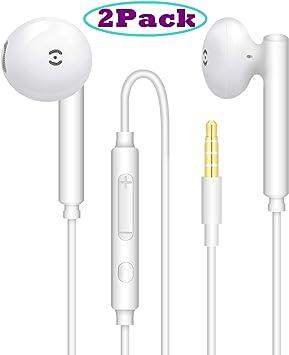 2Pares】 Auriculares estéreo con micrófono y Control de Volumen ...