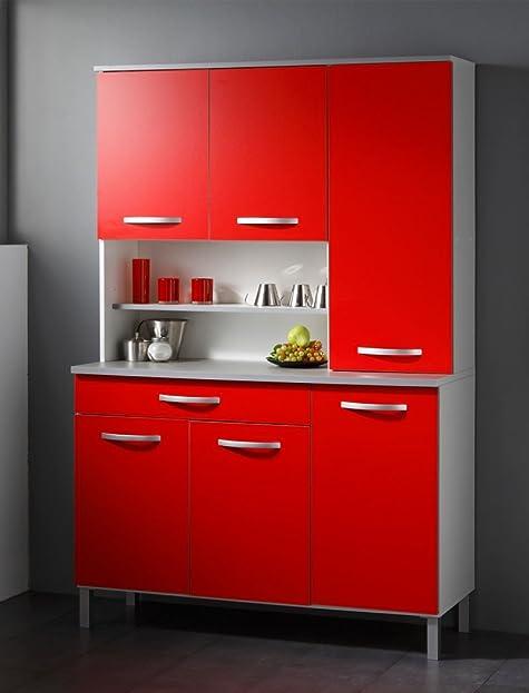 Küchenschrank Seamus 2 120x181x44 cm weiß rot grau Schrank ...
