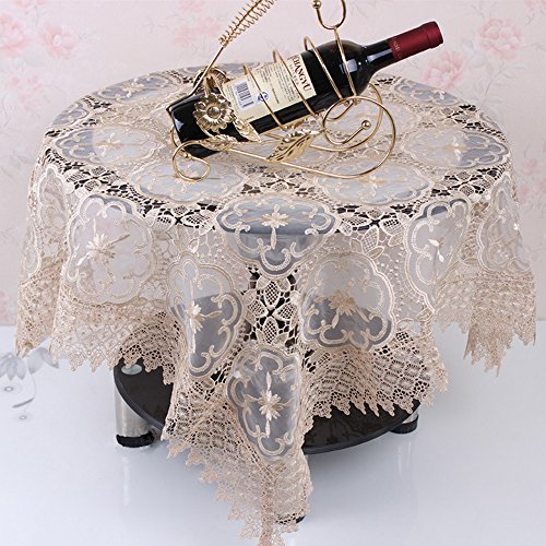"""Ieasycan Table Linens Premium Lace Tablecloth Little Or No Ironing Needed - 44"""" X 44"""" Square, Champagne, Large Tablecloth For Party"""