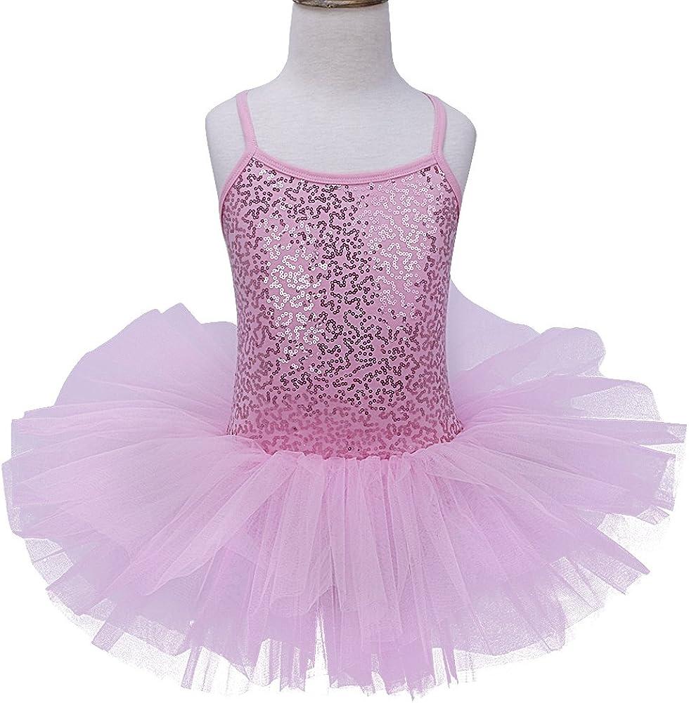 iEFiEL Tut/ú Maillot Vestido de Ballet Algod/ón con Lentejuelas Falda Brillantes con Braga Interior para Ni/ña 4 a 8 A/ños Rosa 7-8 a/ños