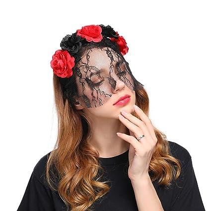 Amazon.com  Aiernuo Sexy Lace Veil Flowers Headband for Birthday ... 717d1461026
