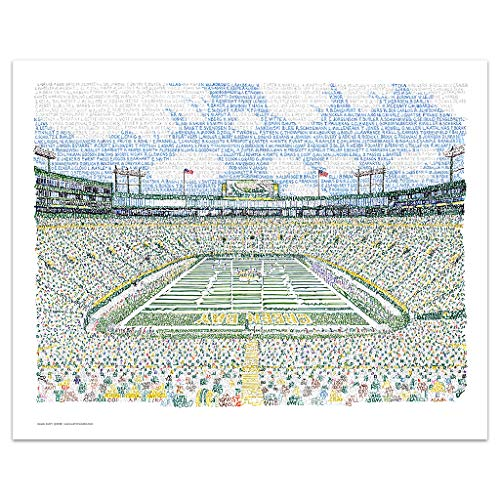 "Lambeau Field Word Art Print - 16""x20"" - Handwritten with The Names of Every Packer in History - Green Bay Packers Decor"
