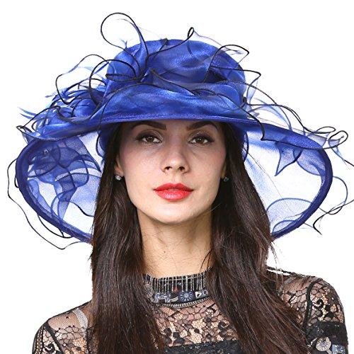 (Womens Kentucky Derby Church Dress Wedding Floral Tea Party Hat S056 (Royal Blue) )
