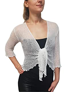 e788490c5220a Mimosa Ladies Crochet Glitter or Plain Stretch Lace Fish Net Bali Tie at  Waist Bolero Shrug Open…