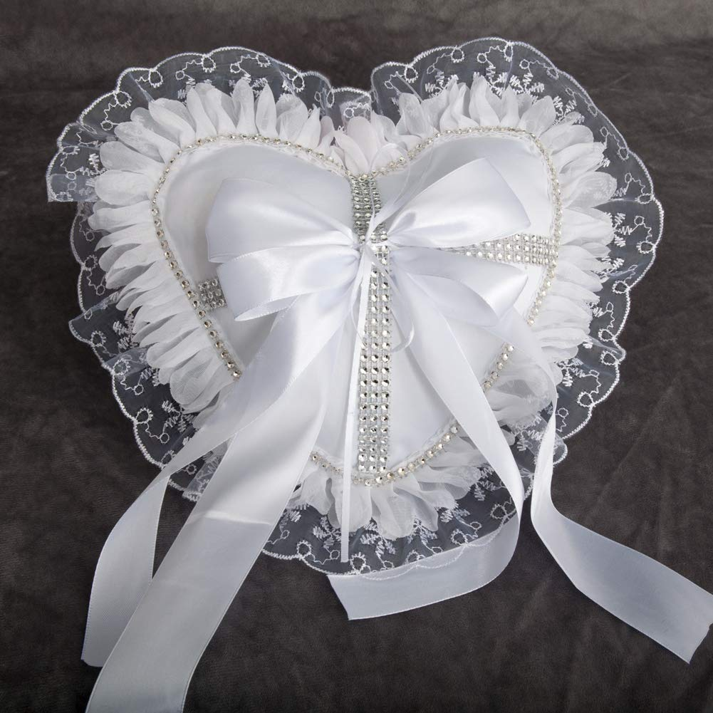 True Love Gift Heart Shaped Fantasy Wedding Ring Pillow Romantic Lace Ring Bearer Pillow Cushion